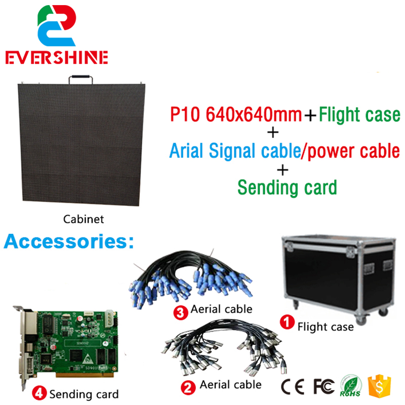 P10 Economic hot-selling Video LED Screen Board for Stage usge with Flight case, Sending card, Aerial cables economic methodology