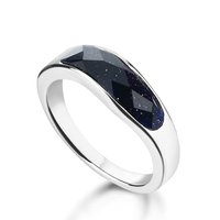Fashion Wave Sterling Silver Ring Agate Restoring Ancient Ways Women Rings Real Solid 925 Silver Ring