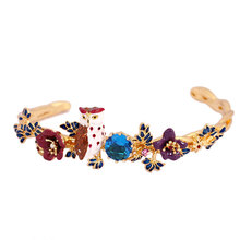 Les Nereides French Fashion Gilded Bracelets Jewelry Enamel Glaze Purple Owl Flower Leaf Bracelet Bangle Accessoies
