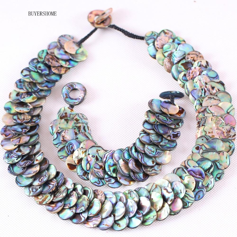 Livraison gratuite à la main femmes bijoux ensembles naturel bleu nouvelle-zélande Abalone Shell perles Bracelet 8
