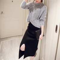 DoreenBow New Autumn Winter Style Dress HIGH QUALITY O Neck Split The Folk Fahion Gray Sweater