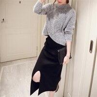 DoreenBow New Autumn Winter Style Dress HIGH QUALITY O Neck Split The Folk Fahion Gray Sweater