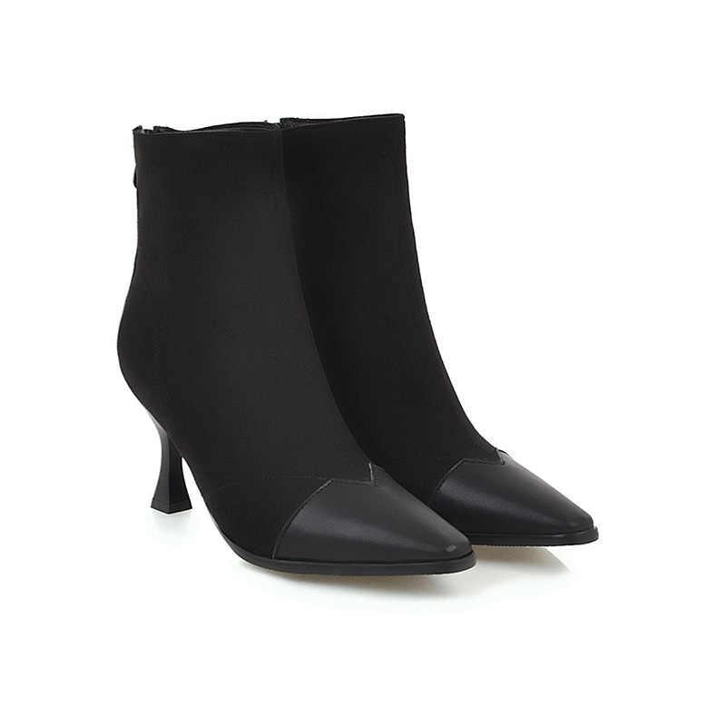 WETKISS Artı Boyutu 34-48 Ayak Bileği Kadın Çizmeler Kare Ayak Zip Ayakkabı Akın Kadın Çizme Pu Yüksek Topuklu Ayakkabılar kadınlar için 2018 Yeni Kış