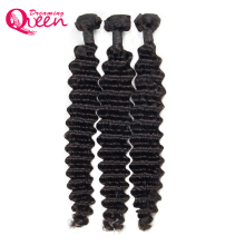 Brazilian Deep Wave Human Hair Remy Hair 100% Human Hair Weave Extension 3 bundle Dreaming Me Queen Hair Natural Black Color