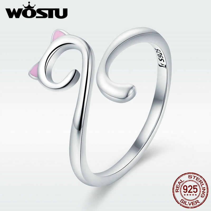 WOSTU твердое чистое серебро 925 пробы милое кольцо с кошачьими пальцами для женщин лента для девушки Праздничная бижутерия с кольцами подарок для девушки DXR341