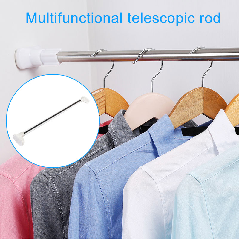 1Pcs Adjustable Lightweight Telescopic Shower Curtain Rail Extendable Pole Rod Bath Window Curtain Clothes Rod Hanger White