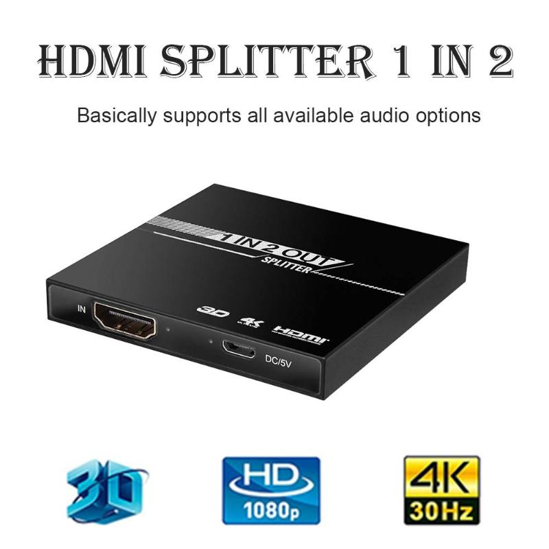 1set 1 In 2 Out Aluminum Ver1.4 HDCP 4K HDMI Upgrade HDMI Repeater HDMI Splitter 1x2 Switcher 3D 1080P Extender