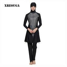 XREOUGA Modest Islamic Swimwear Line Print Swimsuit Muslim Full Cover Hijab Swim Dress Plus Size Beachwear Bathing Suits MS10