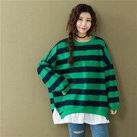 2018 Spring Autumn Women Fake Two Pieces Striped T Shirt Fashion Korean Oversized Loose Cotton O