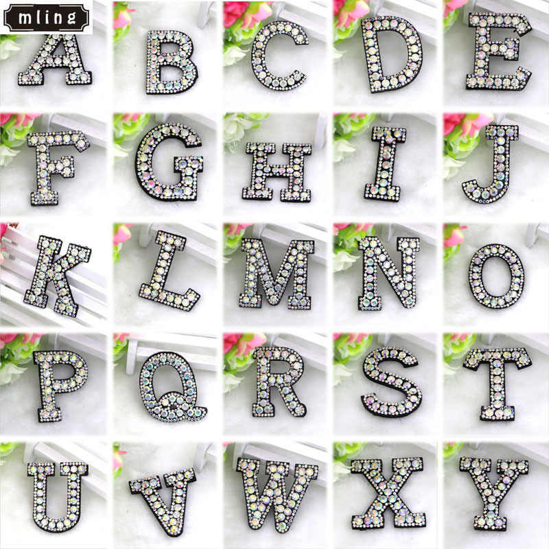 1pcs A-Z Rhinestone English Alphabet Applique Cloth Stick Hot Drilling Letters Patch for Clothing Paste for Clothes Bag Shoes