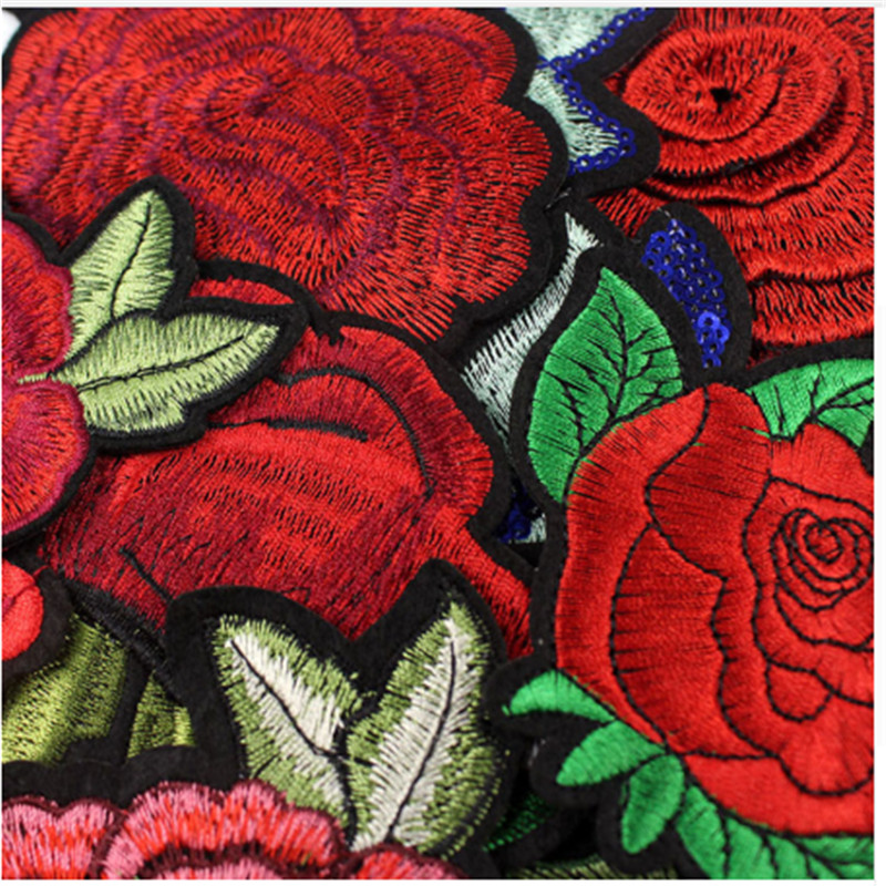 Shidao 5PCS Rose Embroidered Iron on Patches for Clothing DIY Stripes Clothes Patchwork Sticker Custom Flowers Applique in Patches from Home Garden