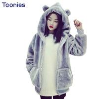 2018 New Winter Sweatshirts Cute Hoodie Coats Thick Tops Rabbit Ears Kawaii Hooded Hoodies Long Sleeved