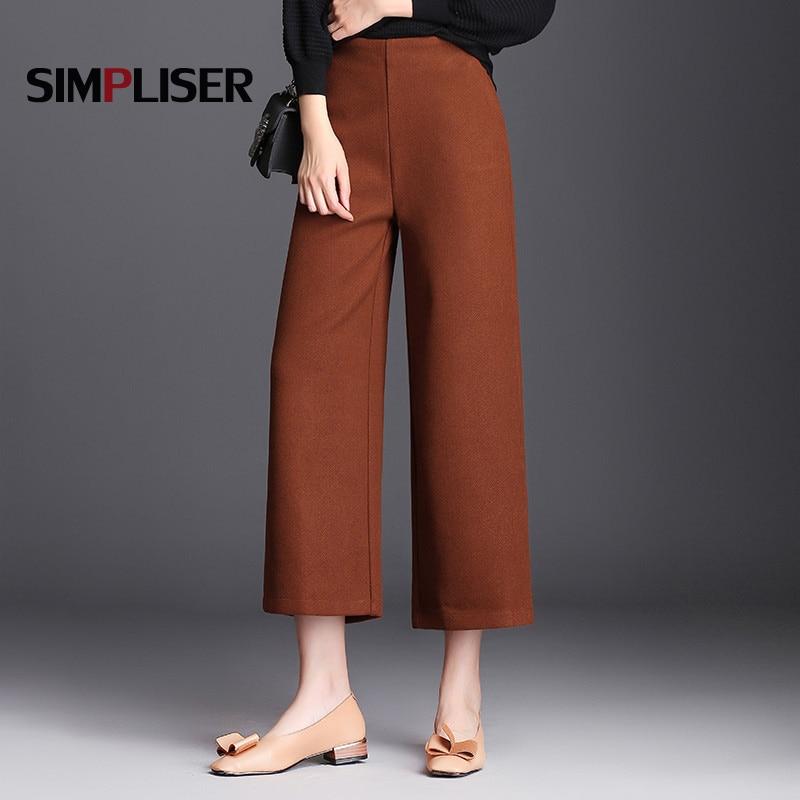 Wide Leg   Pants   Women Winter Thicken Wooled Trousers   Capri     Pants   Loose Femme Pantalon Black Plus Size 5XL 6XL High Waist