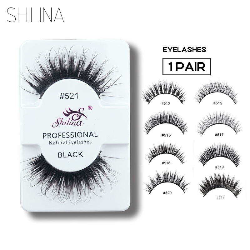 SHILINA False Eyelashes 1 Pair Handmade Soft Natural Long Thick Fake False Eye Lashes Extension Cosmetics Makeup Hair #513-#523