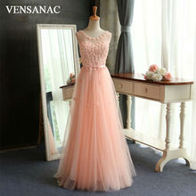 VENSANAC New A Line 2017 Flowers Long Evening Dresses Sleeveless Elegant Lace Beadings Back Up Party Prom Gowns