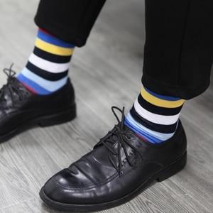 Image 5 - マッチアップ男性カラフルな綿のストライプの靴下アート柄物カジュアルクルーソックス 5 パック靴のサイズ 6  12