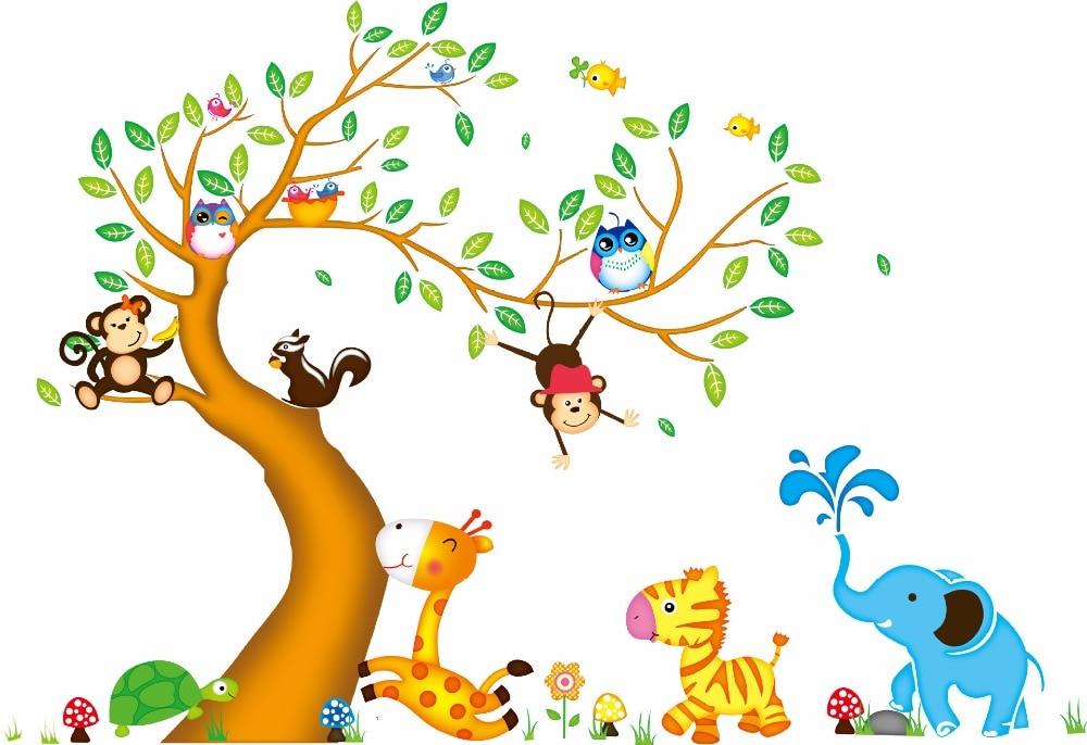 2017 Desain Baru Lapisan Ganda Kartun Kebun Binatang Lucu Hewan Dekorasi Rumah Dinding Stiker Kamar Anak