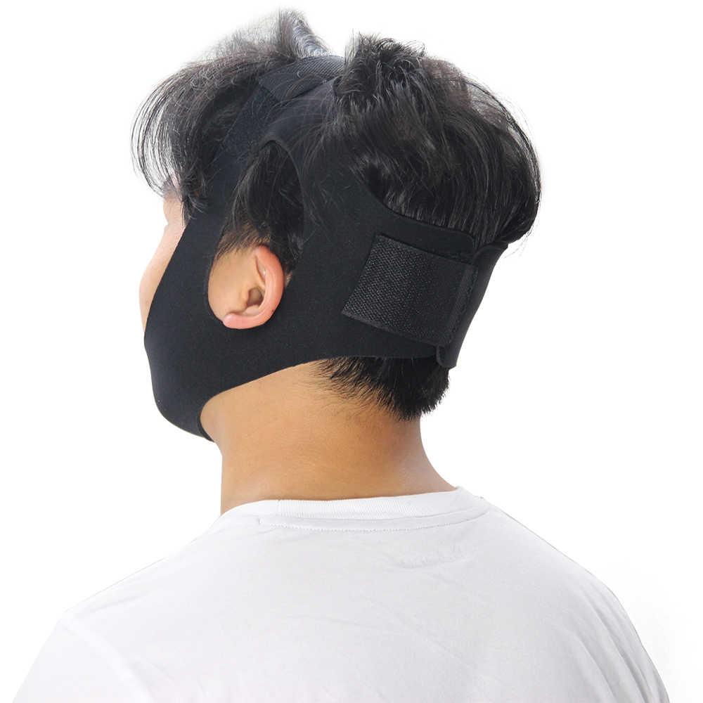 Genkent אנטי נחירות סנטר רצועה אנטי לנחור להפסיק לנחור לסת חגורת שינה תמיכה עבור אישה איש השינה טיפול כלים שחור