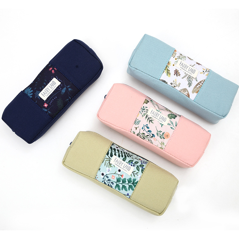 Pen Box Pouch Bag School Canvas Korea Cute Cheap At Supplies Stationery Pencil Case Vintage Students Anime Large Capacity big capacity high quality canvas shark double layers pen pencil holder makeup case bag for school student with combination coded lock