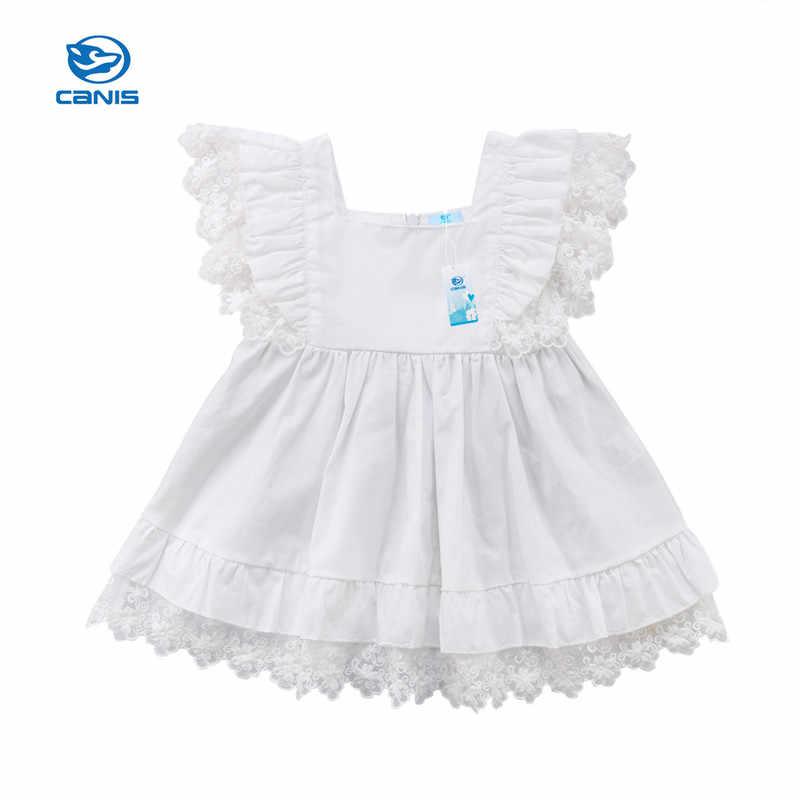 תחרה כותנה בנות בנות קיד בגדי ילדי אופנה 2018 קיץ חדש שמלת מסיבת חג נסיכת קפלי תחרה קוריאני חמוד לבן