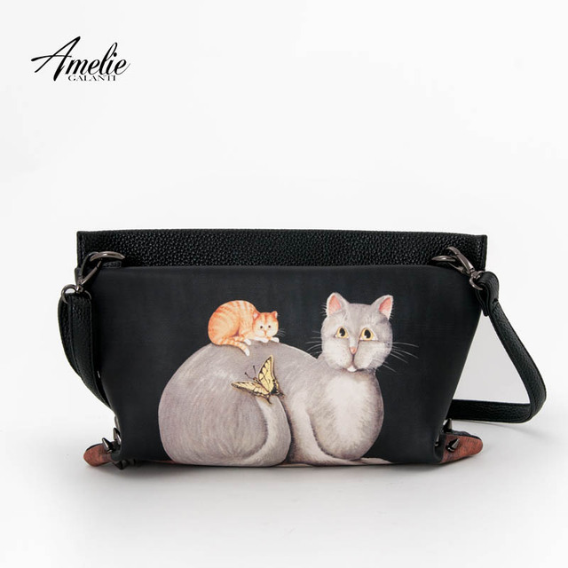 AMELIE GALANTI Women Leather Messenger Bag Fashion Cartoon Print Cat Animal Teenager Purse Ladies Long Straps PU Crossbody Bag
