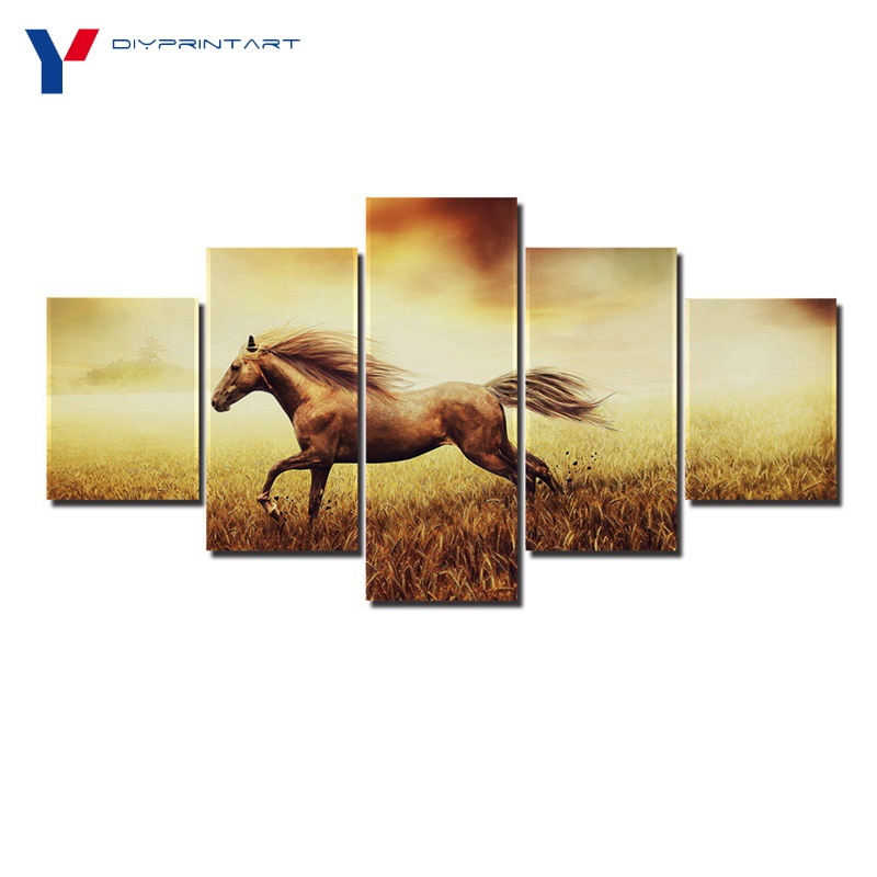 Horse Running in Field 5 Panel Wall Art Decor Animal Painting Living Room Decoration A0968