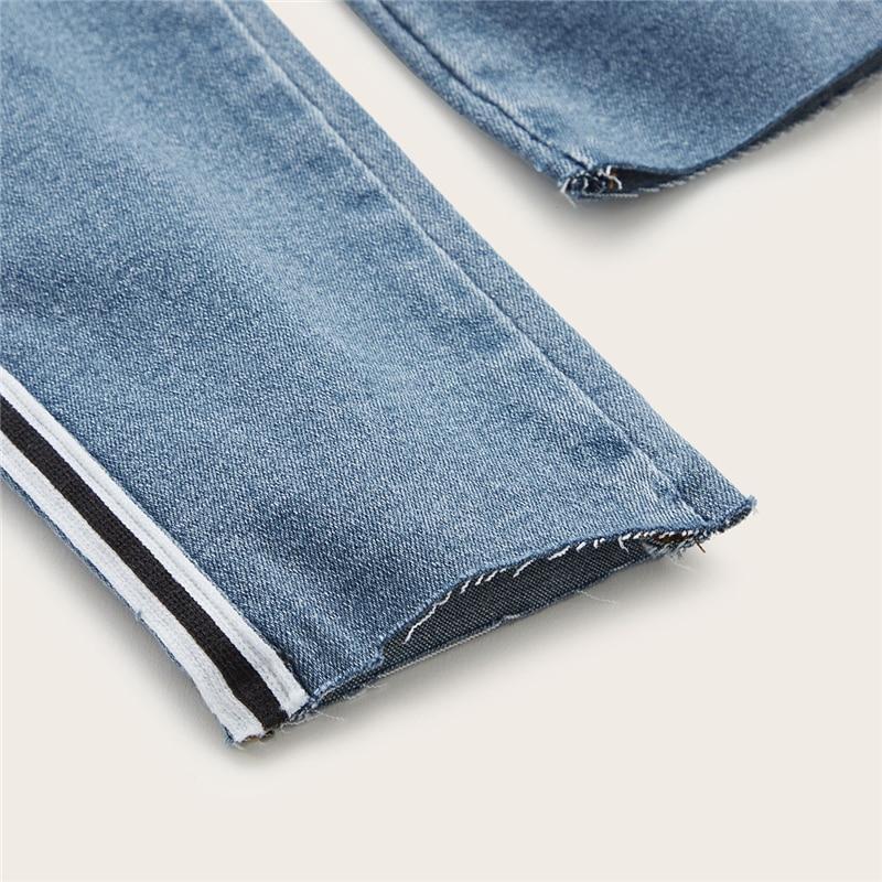 SweatyRocks Stripe Side Ripped Skinny Jeans Leisure Stretchy Long Denim Pants 19 Spring Women Streetwear Casual Blue Jeans 35