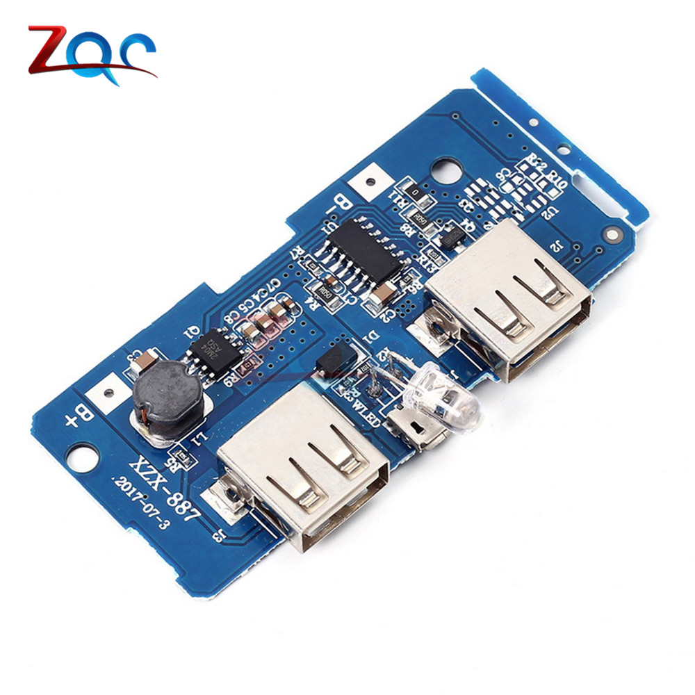 5V 2A Power Bank Charger Module Charging Circuit Board Step Up Boost Power Supply Module 2A Dual USB Output 1A Input Converters
