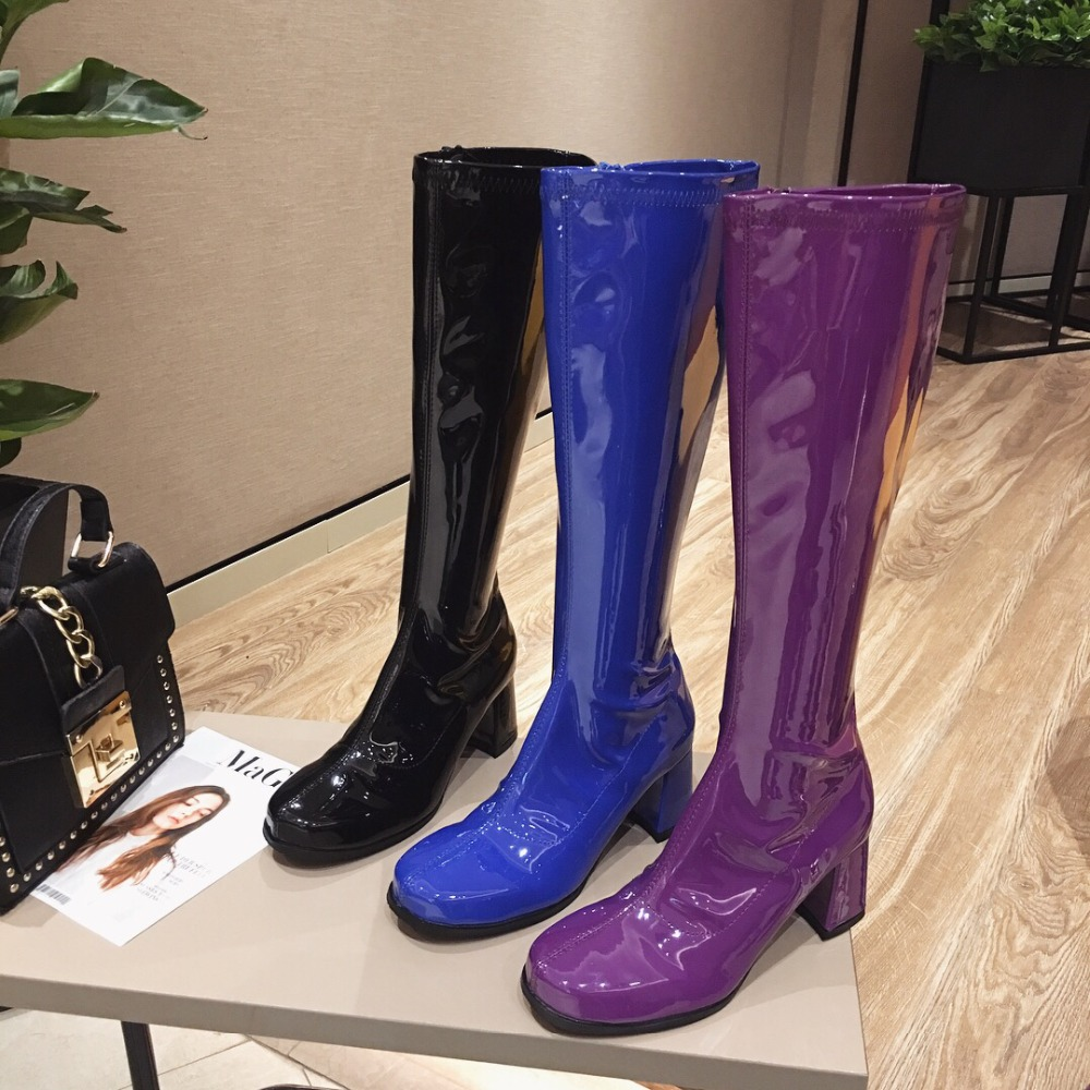Kjstyrka Brand Korean Style Chic Women Boots Spring Autumn Knee High Boots Purple Blue Black Patent Leather Long Boots High Heel цена 2017