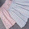 2017 Mulheres saias de verão Japão Estilo azul xadrez rosa kawaii A treliça estudantes de todos os coincidir com mini saia grande saia swing