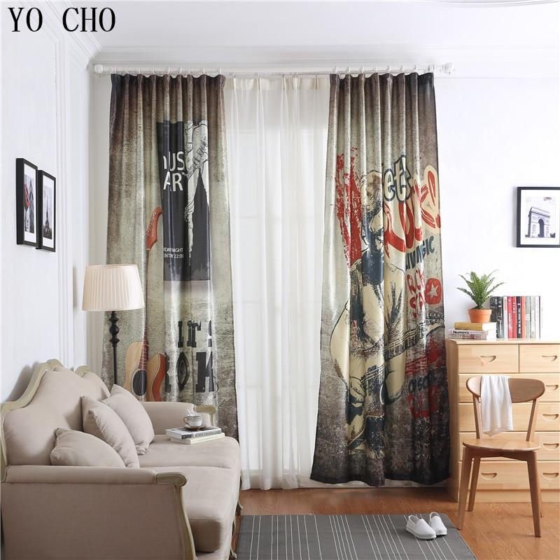 US $64.83 20% OFF|YO CHO 3d window curtain Guitar cortinas blackout for  livingroom tende cucina curtains for children Deco luxury cortina quarto-in  ...