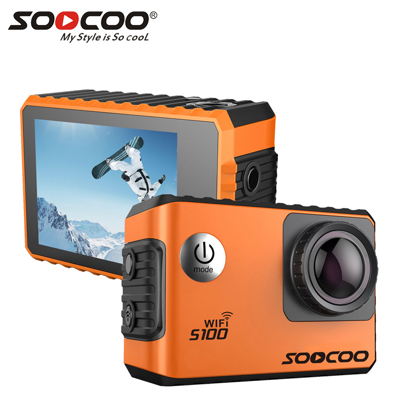 SOOCOO S100 Pro Wifi 4K Action Camera Voice Control 2.0 Touch Screen with Gyro and Remote, GPS Extension(GPS Model not include) smart home us black 1 gang touch switch screen wireless remote control wall light touch switch control with crystal glass panel