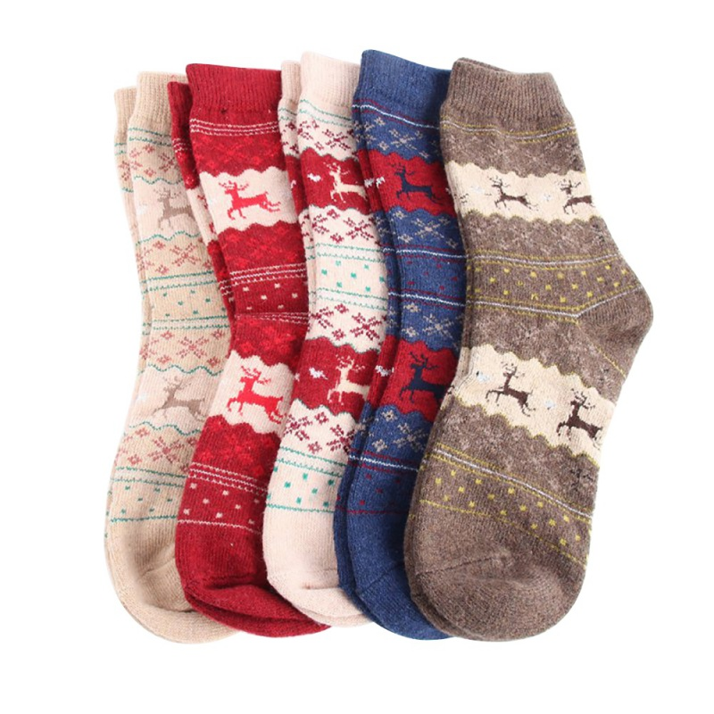 Christmas Deer Socks Women Men Cartoon Design Casual Knit Wool Socks Men Winter Warm Shorts Ankle Socks Meias Calcetines