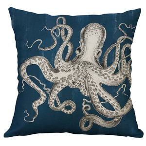 Image 5 - Marine Life Coral Sea Turtle Seahorse Whale Octopus Waist Cushion Cover Pillow Cover Throw Pillowcase Home Decor 40x40cm