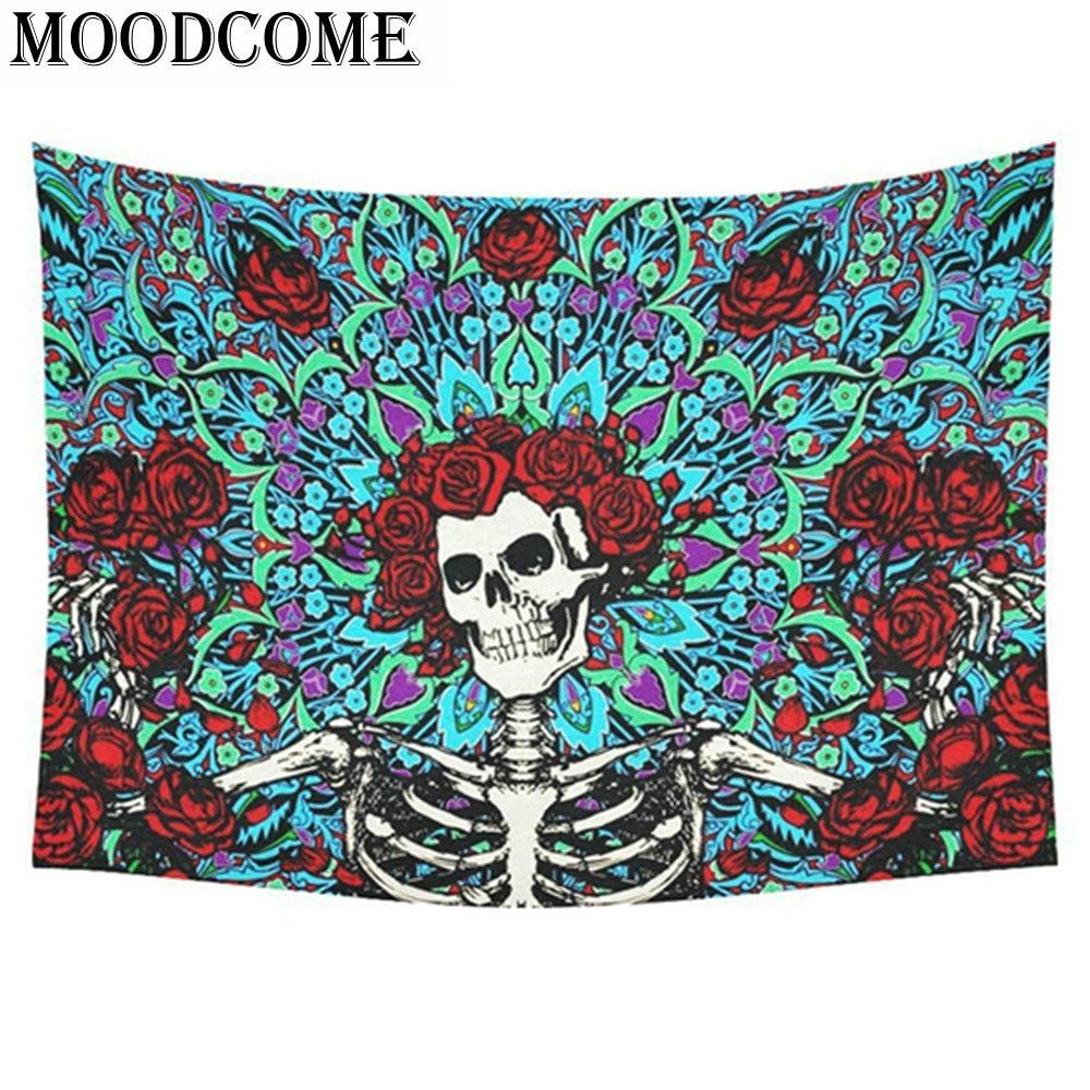 skull printed tapestry wall hanging punk styles mandala mats blanket beach <font><b>towel</b></font> flower tapestry