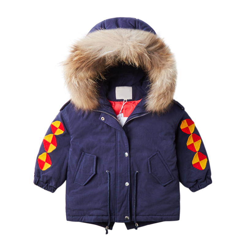 Children Winter Hooded Down Jacket Baby Fur Collar Duck Down Warm Jacket Warm Thickening Coats Embroidery Children Jacket 2-7T new 2017 winter baby thickening collar warm jacket children s down jacket boys and girls short thick jacket for cold 30 degree