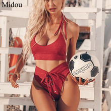 046b2b648f70 Midou High Waist Swimsuit Bikini Set 2019 Sexy Solid Bikinis Women Push Up  Swimwear Banting Suit Swim Sexy Bandage Bikini zaful
