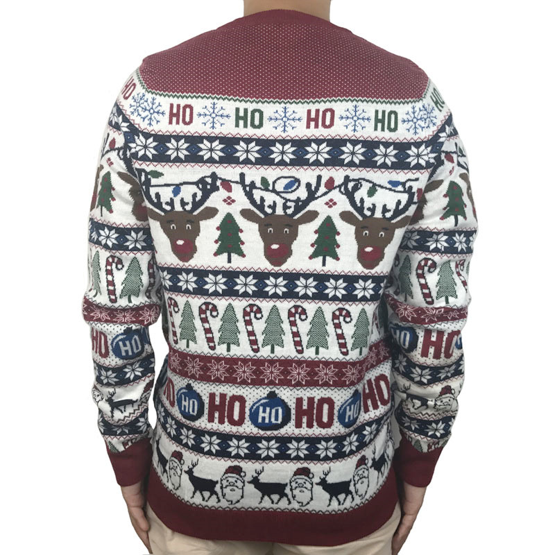 Funny Light Up Ugly Christmas Sweater for Men and Women Cute Reindeer Santa Patterned Xmas Pullover Jumper Plus Size S-2XL 9