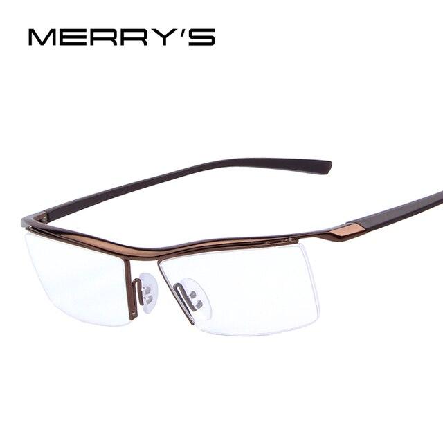 85a6b3b075 MERRY S Men Optical Frames Eyeglasses Frames Rack Commercial Glasses  Fashion Frame Myopia Titanium Frame TR90 Legs