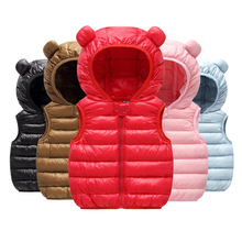 Children's Cotton Vest 0-3 Years Old Hooded Jacket Sleeveless Vest Baby Cotton Clothes  Baby Girl Clothes Invierno