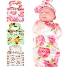 Newborn Swaddle Headwrap Hospital Swaddled Set Floral Baby Swaddle Set Headband Baby Photo Prop Top Knots