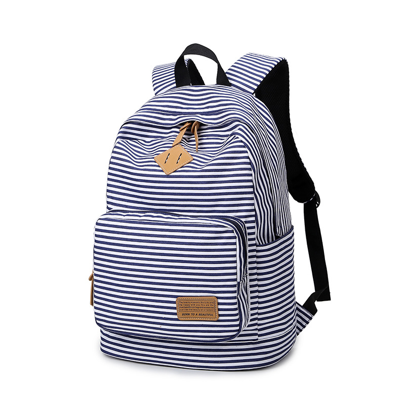 New Striped School Backpacks for Teenage Girls Canvas Women Backpacks Fashion School Bags Schoolbag Student Book