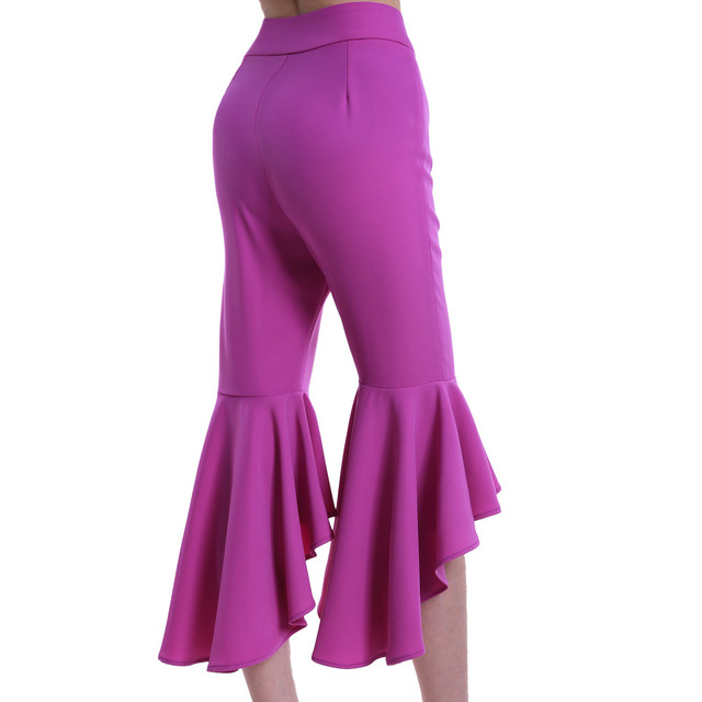 2017 Flare Pants Spring Solid European Boutique Mid Waist Fashionable Womens Purple Slim Pant with Wide Ruffle Bottom