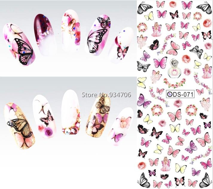DS071 2017 Nail Design Water Transfer Nails Art Sticker Colorful Butterfly Nail Wraps Sticker Watermark Fingernails Decals