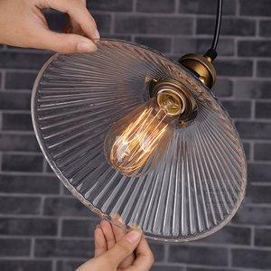 Image 3 - Винтажный стеклянный подвесной светильник в стиле индастриал, креативный зонтик с абажуром E27, Подвесная лампа для ресторана, бара, кафе