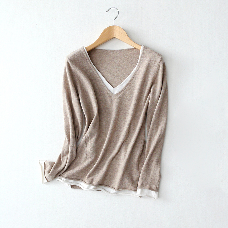 Women Casual Knitted Pullovers Tops Fashion V-neck Contrast Color Wool Sweater Tops S/M/L ny collection new blue women s size large l wide knit v neck sweater $60 083