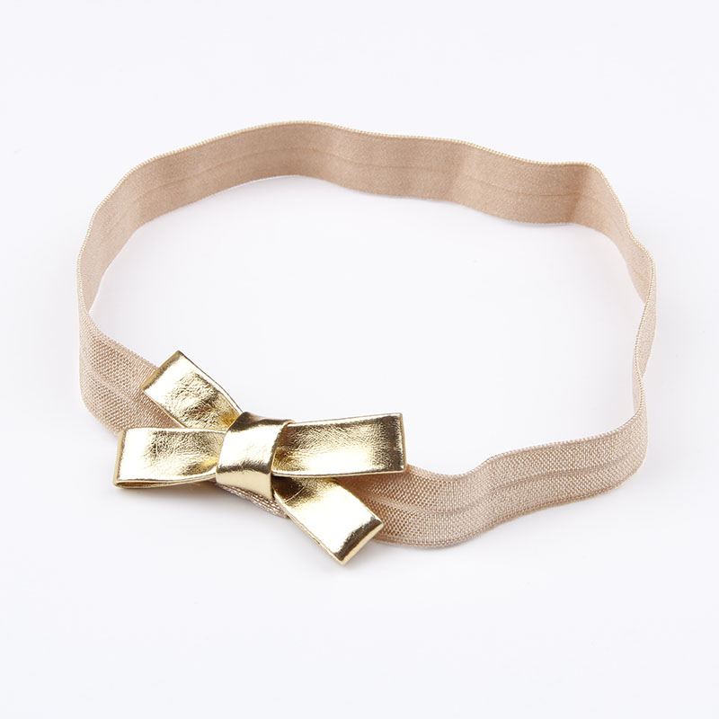 Baby Girls Gold&Silver PU Bow Headband Kids Leather Bowknot Hairband Headwear Newborn Hair Band Accessories