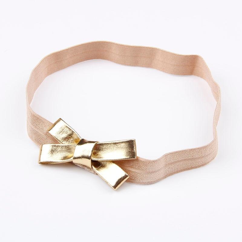 Baby Girls Gold&Silver PU Bow Headband Kids Leather Bowknot Hairband Headwear Newborn Hair Band Accessories