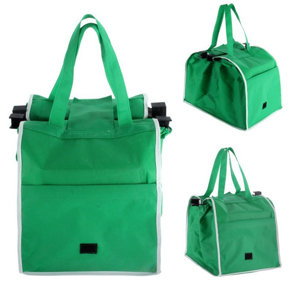 Reusable Large Trolley Clip-To-Cart Grocery Supermarket Shopping Bags Portable Green Cloth Bag Foldable Tote Handbags(China)