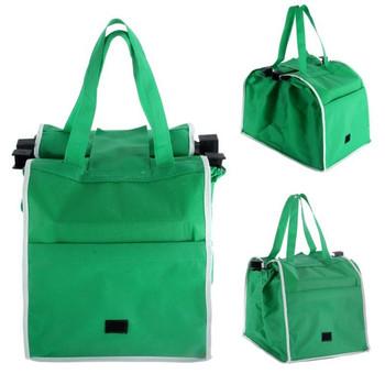Wielokrotnego użytku duży wózek Clip-To-Cart sklep spożywczy Supermarket torby na zakupy przenośna zielona płócienna torba składana torba torebki tanie i dobre opinie Torby do przechowywania Włókniny tkaniny Trójwymiarowe Shopping Bags Na stanie Ekologiczne Folding Do montażu za drzwiami na ścianach